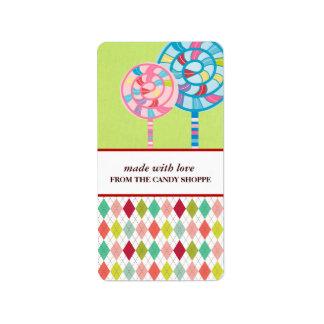 Etiquetas del producto del negocio del caramelo etiquetas de dirección