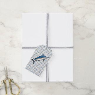 Etiquetas del regalo - aguja azul en la tela etiquetas para regalos
