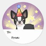 Etiquetas del regalo de Boston Terrier del Pegatina Redonda