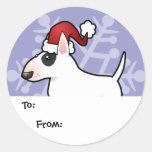 Etiquetas del regalo de bull terrier del navidad pegatinas redondas
