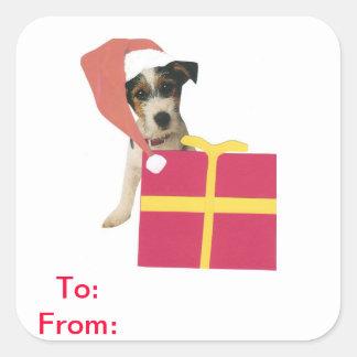 Etiquetas del regalo de Jack Russell Terrier a y Pegatina Cuadrada