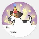 Etiquetas del regalo de Jack Russell Terrier del Pegatina Redonda