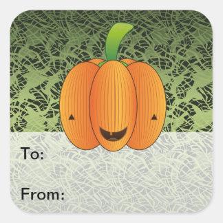 Etiquetas del regalo de la calabaza de Halloween Pegatinas Cuadradases Personalizadas