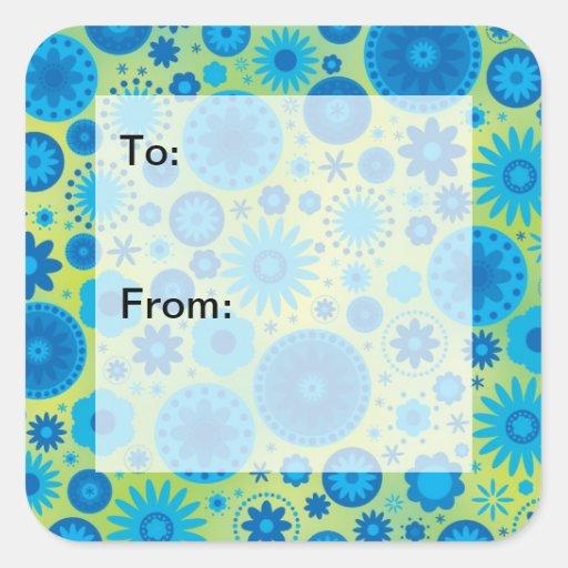 Etiquetas del regalo de la flor del hippy del azul calcomanía cuadrada personalizada