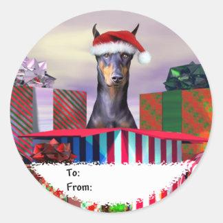 Etiquetas del regalo de la sorpresa del navidad pegatina redonda