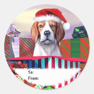 Etiquetas del regalo de la sorpresa del navidad pegatinas redondas