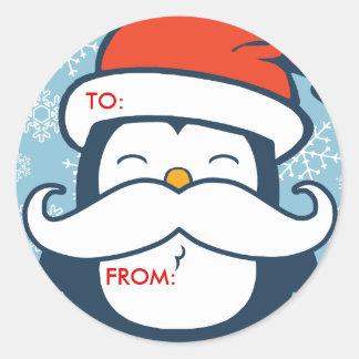 Etiquetas del regalo de la tendencia del bigote pegatina redonda