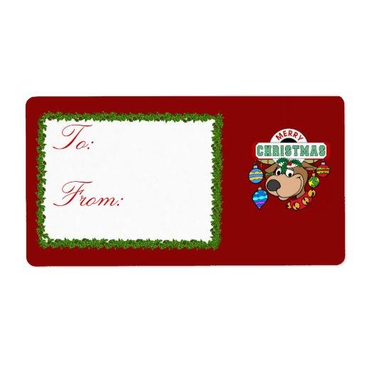 Etiquetas del regalo de las Felices Navidad Etiquetas De Envío