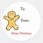 Etiquetas del regalo de las Felices Navidad Pegatinas Redondas