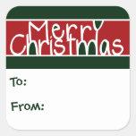 Etiquetas del regalo de las Felices Navidad Colcomanias Cuadradas