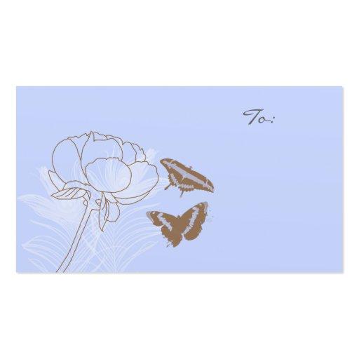Etiquetas del regalo de las mariposas del Peony y Tarjetas De Visita