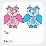 Etiquetas del regalo de los búhos de las tarjetas pegatinas cuadradas personalizadas