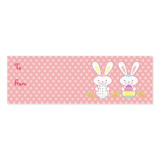 Etiquetas del regalo de los conejitos de pascua tarjeta de visita