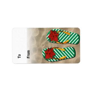 Etiquetas del regalo de los flips-flopes del fiest etiquetas de dirección