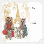 Etiquetas del regalo de París de la torre Eiffel Colcomanias Cuadradas