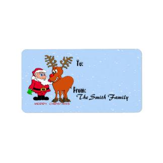 Etiquetas del regalo de Santa y de Rudolph Etiqueta De Dirección