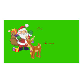 Etiquetas del regalo de Santa y del reno Tarjetas De Visita