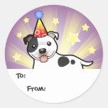 Etiquetas del regalo de Staffordshire bull terrier Pegatina Redonda