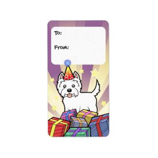 Etiquetas del regalo de Terrier blanco de montaña Etiqueta De Dirección