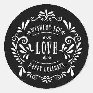 Etiquetas del regalo de vacaciones del amor el | pegatina redonda