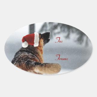 Etiquetas del regalo de vacaciones del pastor pegatina oval personalizadas