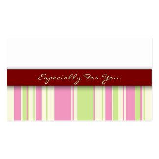 Etiquetas del regalo de vacaciones: Rayas rosadas Tarjetas De Visita