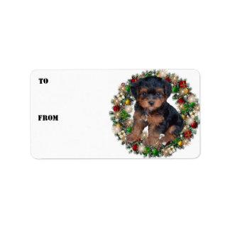 Etiquetas del regalo de Yorkshire Terrier de la Etiqueta De Dirección