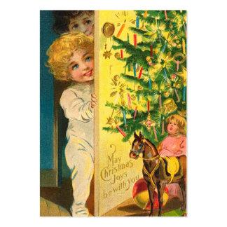 Etiquetas del regalo del árbol de navidad del tarjetas de visita grandes