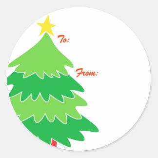 Etiquetas del regalo del árbol de navidad pegatina redonda