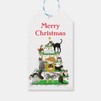 Etiquetas del regalo del árbol del gato del etiquetas para regalos