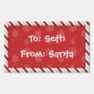Etiquetas del regalo del bastón de caramelo pegatina rectangular