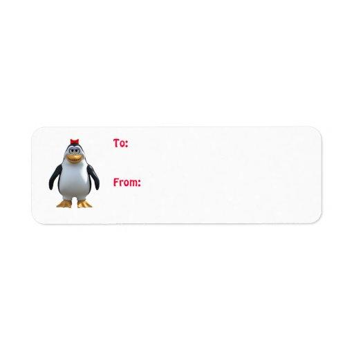 Etiquetas del regalo del chica del pingüino etiqueta de remite