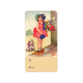 Etiquetas del regalo del chica del tulipán del etiqueta de dirección