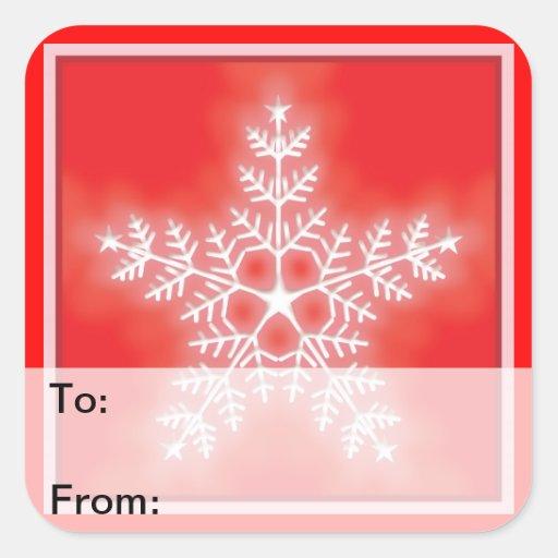 Etiquetas del regalo del copo de nieve de la calcomanía cuadradas personalizadas