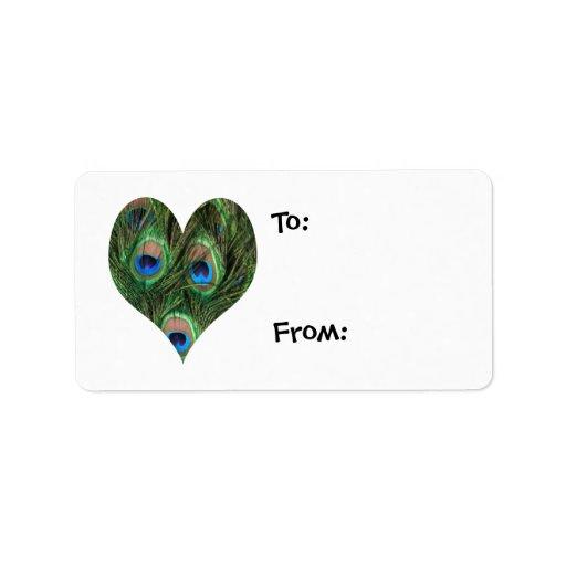 Etiquetas del regalo del corazón de la pluma del etiqueta de dirección
