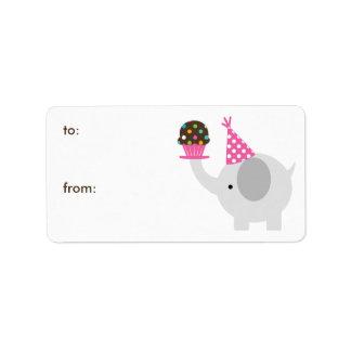 Etiquetas del regalo del elefante y de la magdalen etiquetas de dirección