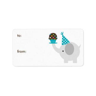 Etiquetas del regalo del elefante y de la magdalen etiqueta de dirección