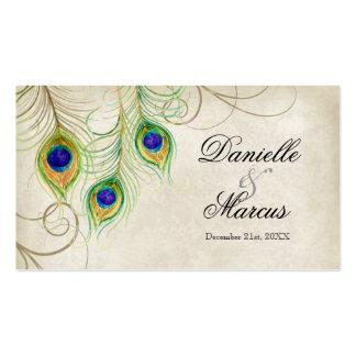 Etiquetas del regalo del favor - plumas del pavo r plantillas de tarjetas de visita