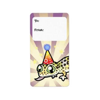 Etiquetas del regalo del Gecko del leopardo del cu Etiquetas De Dirección