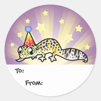 Etiquetas del regalo del Gecko del leopardo del Pegatina Redonda