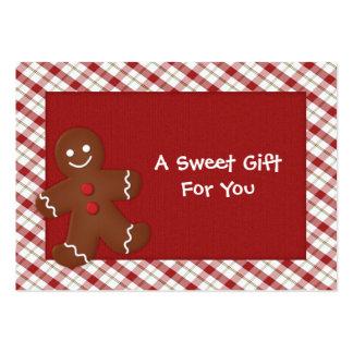 Etiquetas del regalo del hombre de pan de jengibre tarjetas de visita grandes
