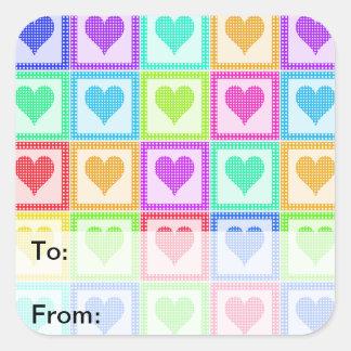 Etiquetas del regalo del modelo del edredón del pegatina cuadradas personalizada