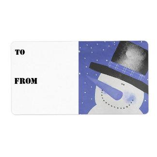 Etiquetas del regalo del muñeco de nieve - azul etiquetas de envío