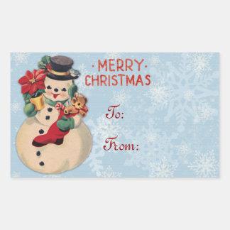 Etiquetas del regalo del muñeco de nieve del rectangular pegatina