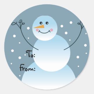 Etiquetas del regalo del muñeco de nieve
