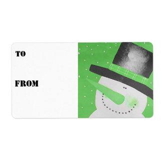 Etiquetas del regalo del muñeco de nieve - verde etiqueta de envío