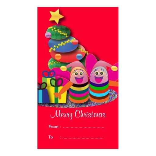 Etiquetas del regalo del navidad: 2 abejas rosadas tarjetas de visita