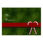 Etiquetas del regalo del navidad con los bastones  plantilla de tarjeta de negocio