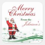 Etiquetas del regalo del navidad de Papá Noel del Pegatina Cuadrada