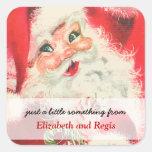 Etiquetas del regalo del navidad de Papá Noel del  Calcomanias Cuadradas